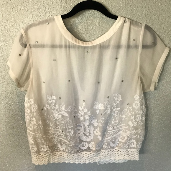 Anthropologie Tops - Anthropologie VanessaVirginia White Sheer Lace Top